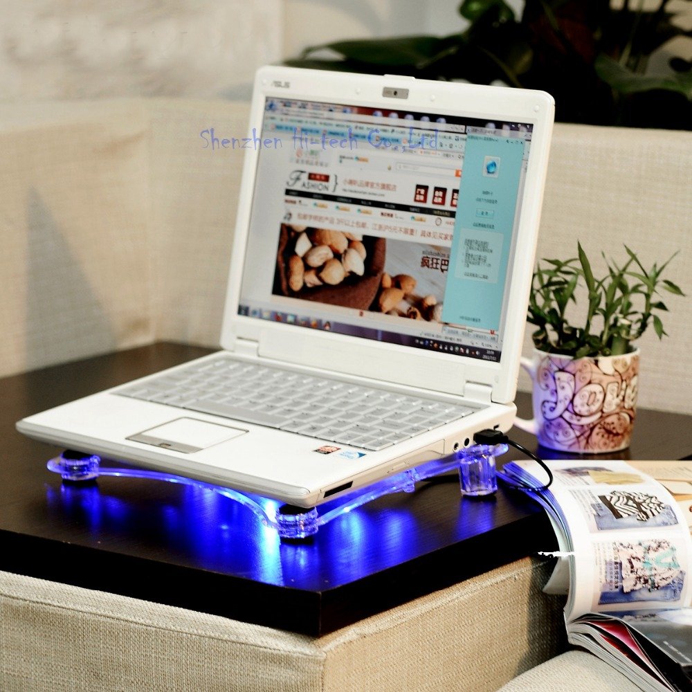 New 3 Fans Laptop Cooler Base With Blue LED Light Notebook Cooling Pad Stand Air cooled