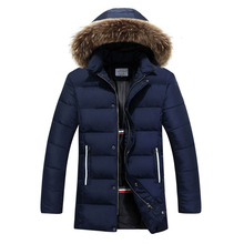 2016 Fashion Mens Winter Solid Parka Fur Hood Padded Jacket Men Warm Casual Jackets Jaqueta Masculina 13M0475 - BlackDuck Store store