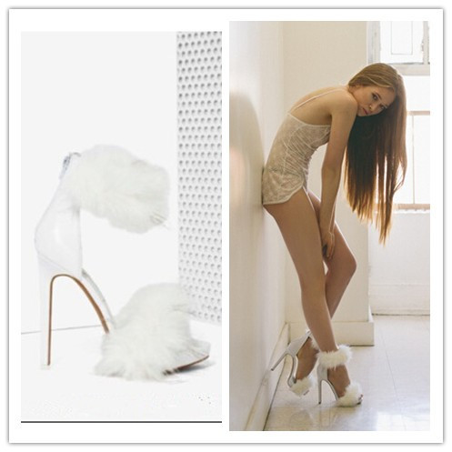 2015 Newest Summer Solid Color Suede High Heels Shallow Mouth Sweet Feathered Fashion Peep Toe Sandals Wedding Party Shoes Woman(China (Mainland))