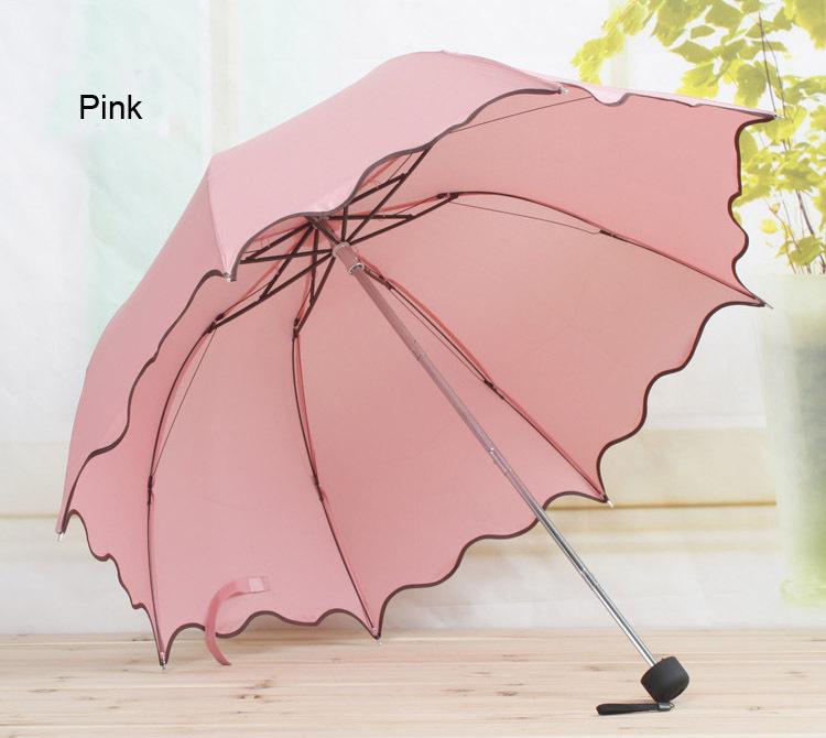 Нет - автоматическое зонтик дождь женщины раскладной милый Flouncing кружево женское зонтики взрослые Guarda Chuva 11 цвета YS001