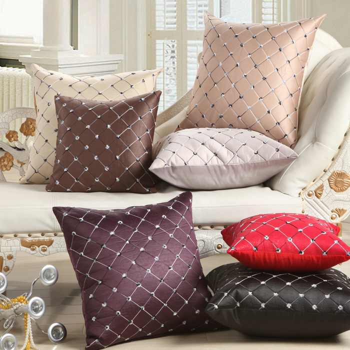 NEW hot 7 colors Embroidered font b Plaid b font pillows for sofa decorative pillows sofa