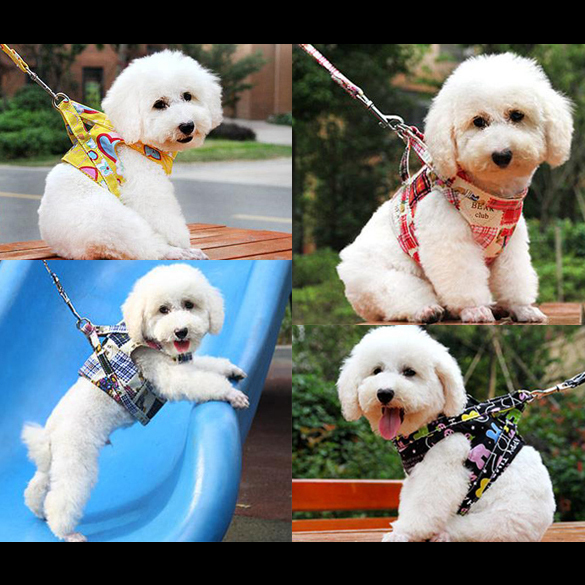 Practical Canvas Dog Puppy Vest Type Traction Rope Pet Walking Tool Heart/Rabbit/Bear MTY3(China (Mainland))