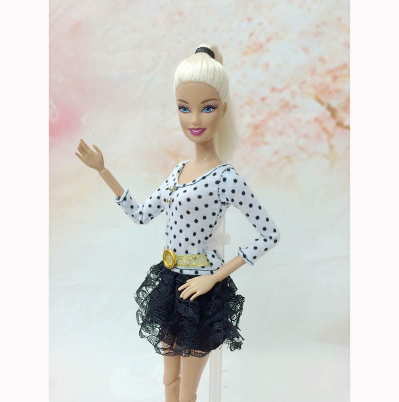 Black White Dot Lace Mini Gown Tutu Gown For Barbie Dolls For 1/6 BJD Doll Home Doll Equipment