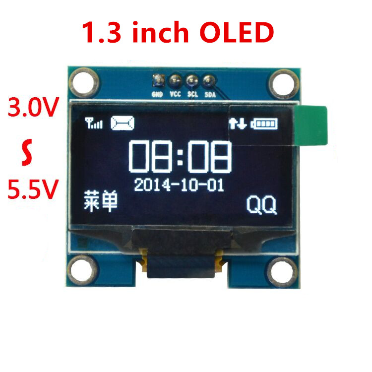 "blue and white color 128X64 1.3 inch OLED LCD LED Display Module For Arduino 1.3"" IIC Communicate(China (Mainland))"