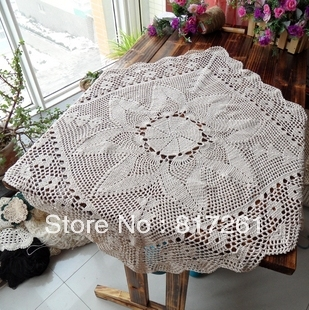 Free shipping 2013  beige 75cm square lace table cloth fabric runner for wedding crocheted tablecloth lace table runer overlay