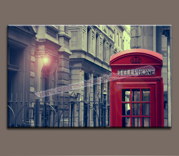 Home decor canvas wall painting of london telephone booth for Home decorations london