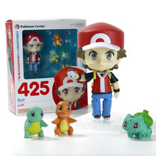 Pokemon Action Figure Toy Nendoroid Ash Ketchum Zenigame Charmander Bulbasaur Action Figure Pokemon Red Anime Collectible Model