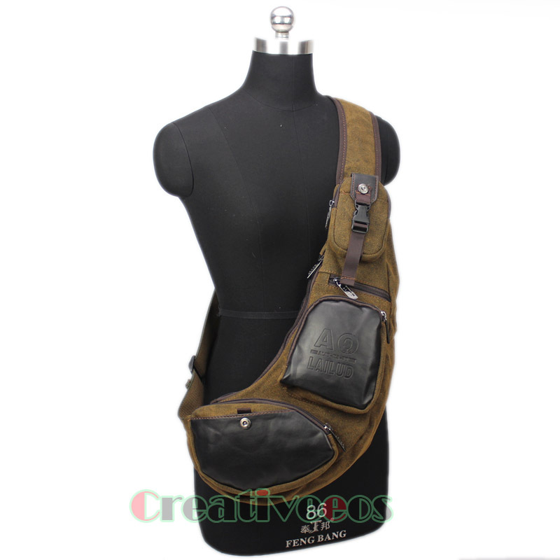 Men Canvas PU Leather Travel Hiking Riding Motorcycle Bike Cross Body Messenger Shoulder Back pack Sling Chest Bag(China (Mainland))