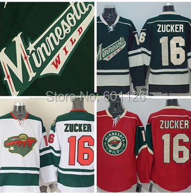 Minnesota Wild 16 Jason Zucker Hockey Jerseys Authentic Stitched Team Colro Green White Red Jersey(China (Mainland))