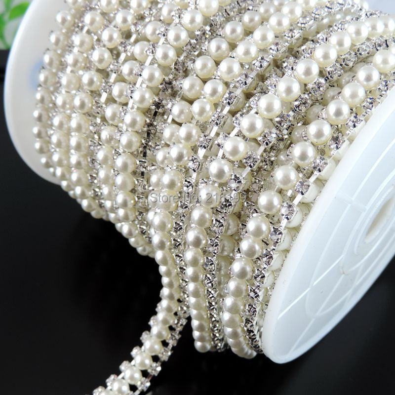 Fashion Fresh Water Pearl Rhinestone Necklace Chains Garment Bag Accessories Bling New DIY 100mm 39257(China (Mainland))