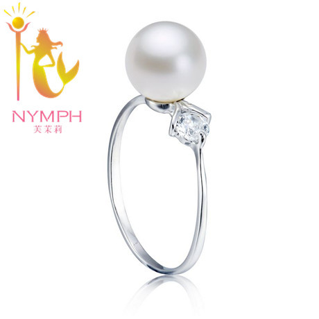 NYMPH 10mm Pearl Wedding Ring Pure 925 Sterling Silver Big Rings Natural Pearls With Zircon Bridal Bridesmaid Luxury Jewelry<br><br>Aliexpress