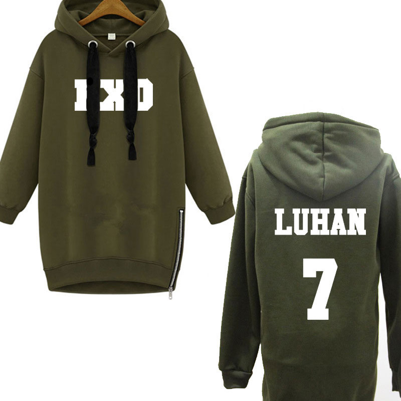 Fashion 2016 new EXO long hoodies and sweatshirts army green letter print sudaderas mujer zipper pullover hooded sweatshirt sale(China (Mainland))