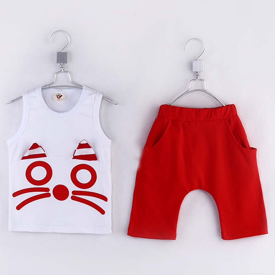 2015 summer little boys solid vest and shorts pullover o-neck cotton dress children's fashional and casual clothing sets A1845(China (Mainland))
