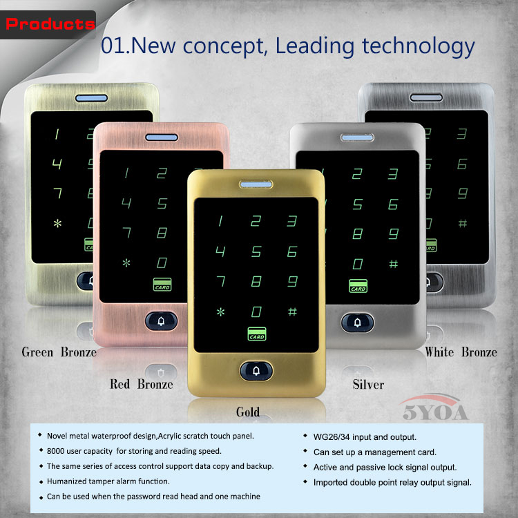 Metal Touch 8000 Users Door RFID Access Control Keypad Case Reader 125khz EM4100(China (Mainland))