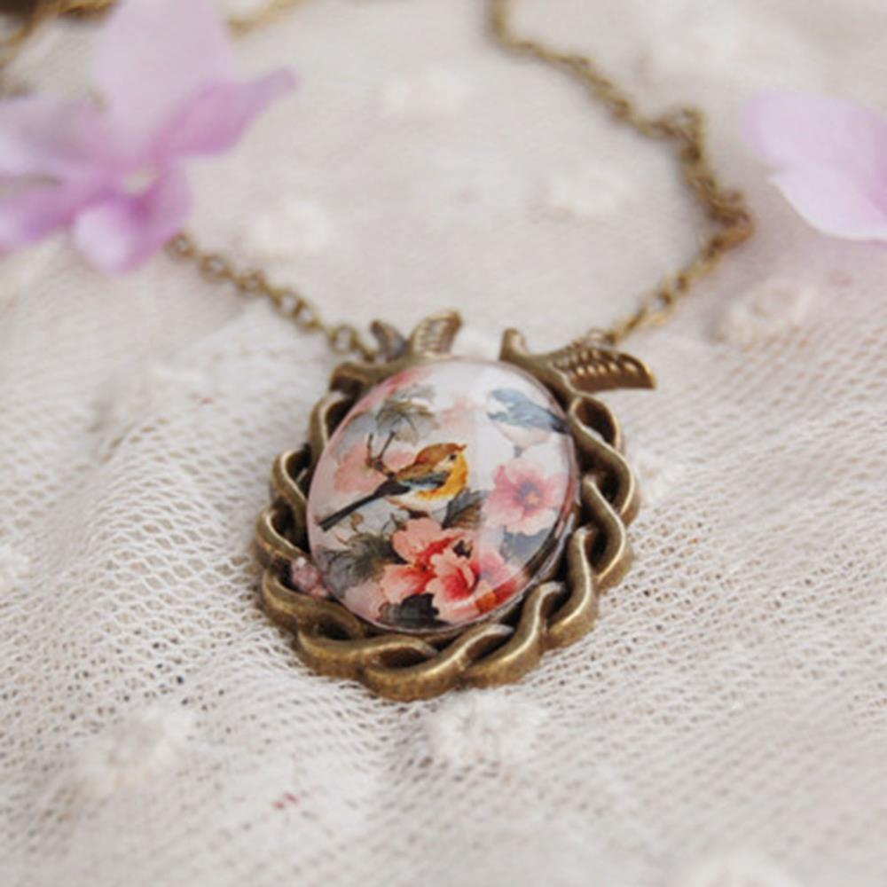 Summer Style Jewelry Vintage Antique Bronze Oval Flower Bird Alloy Pendant Necklace Glass Cabochon Statement Necklace for Women(China (Mainland))