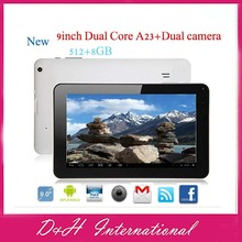 Dual Core Allwinner A23 9 inch Android 4.2 Tablet pc 512MB 8GB + Dual camera mini PC Free Drop ship(Hong Kong)