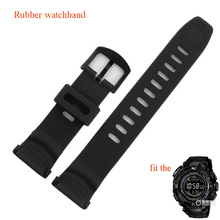 Black special watchbands rubber sport watches belt straps fit PRG-130Y/PRW-1500Y Climbing swimming watch accessories waterproof