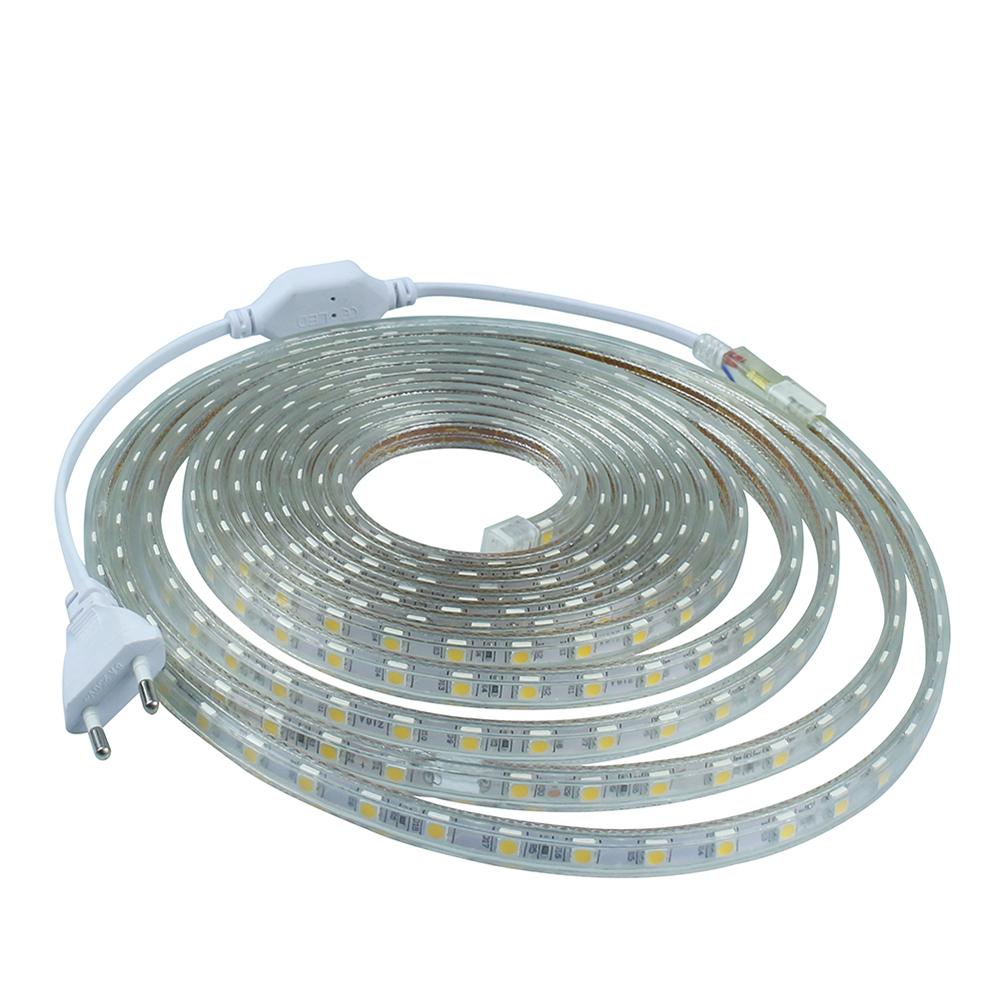 ac 220v led strip light smd5050 60leds m ip67 waterproof led flexible. Black Bedroom Furniture Sets. Home Design Ideas