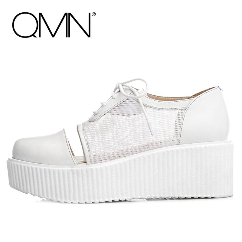 Фотография QMN women platform flats Genuine Leather Mesh Breathable Creepers Women Casual Shoes Woman Flats Zapatos Mujer Black/White 34-39