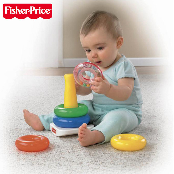 Baby Toys 0-12 Months Educational Fisher Stack Up Nesting Rainbow Tower Ring Learning Brilliant Basics Rock-a-Stack Rattle Price(China (Mainland))