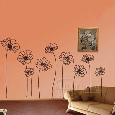 wandsticker transluzente wand aufkleber blumen schrubben. Black Bedroom Furniture Sets. Home Design Ideas