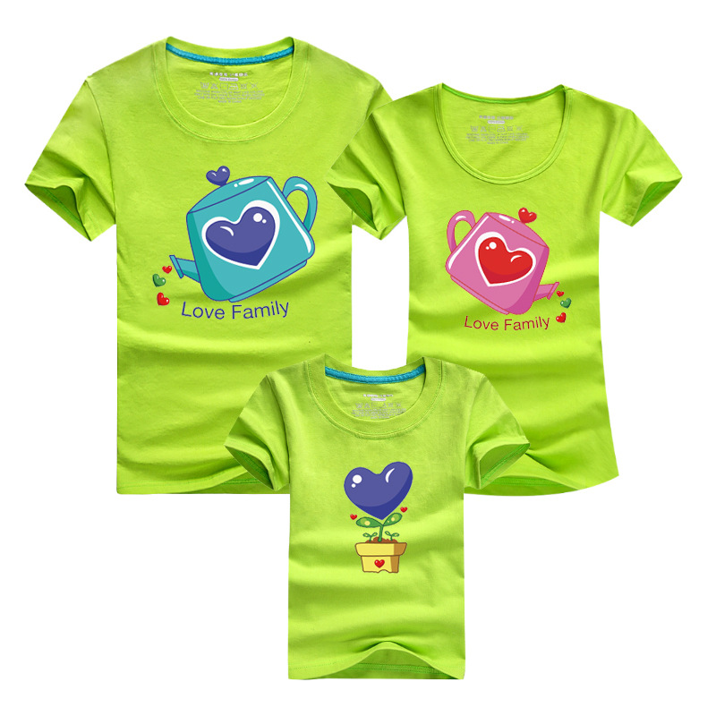 Love font b Family b font Summer Cotton Tshirt font b Family b font Clothes Set