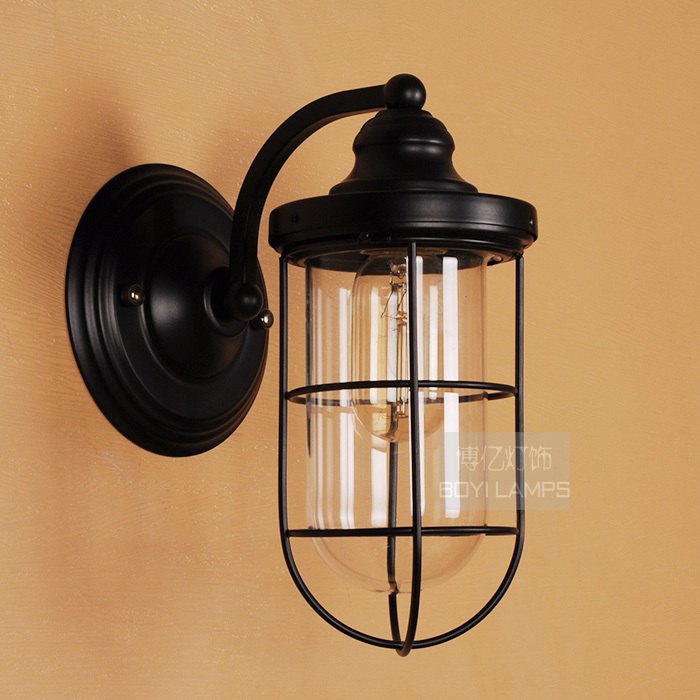 American vintage nordic brief fashion Iron wall lamp bedside with glass lampshade outdoor wall lamp e27<br>