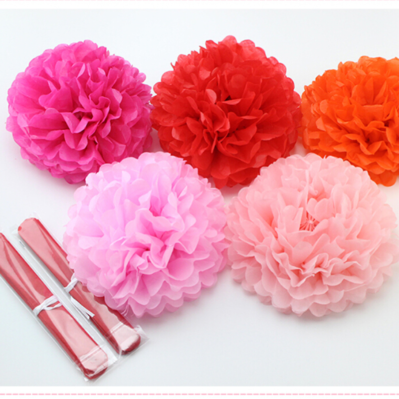 1pcs 10inch (25cm) pompon Tissue Paper Pom Poms Flower Kissing Balls Home Decoration Festive Party Supplies Wedding Favors(China (Mainland))