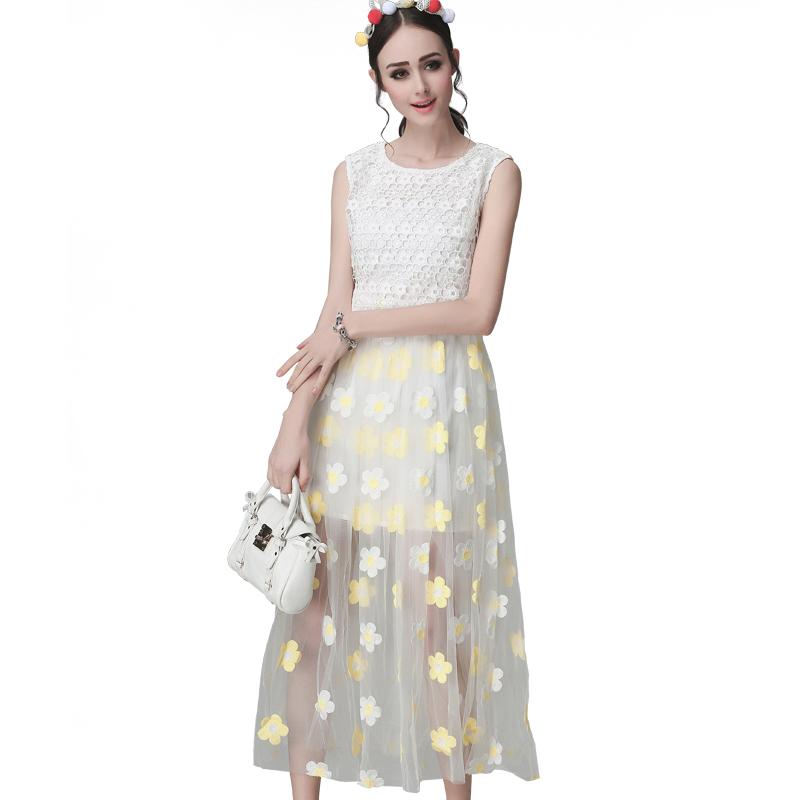 2016 Summer Bohemia Maxi Dresses Women O-Neck Sleeveless Lace Floral Mesh Patchwork Long Dress Vestidos Longo(China (Mainland))