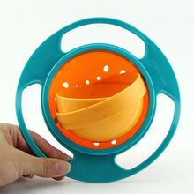 1 PC Baby Kid Boy Girl Gyro Feeding Toy Bowl Dishes Spill-Proof Universal 360 Rotate Technology Funny Gift