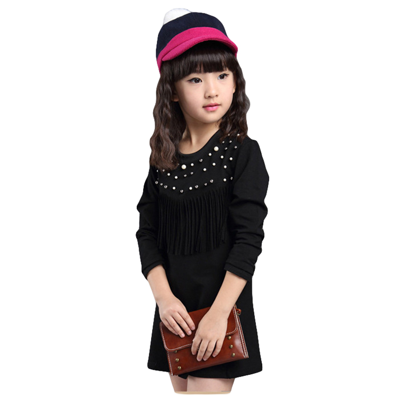 New 2016 Summer Style Girls Ruffles Pearl Design Princess Dress Cotton Baby Kids Casual Costume For Children Clothes CC195-HDR(China (Mainland))