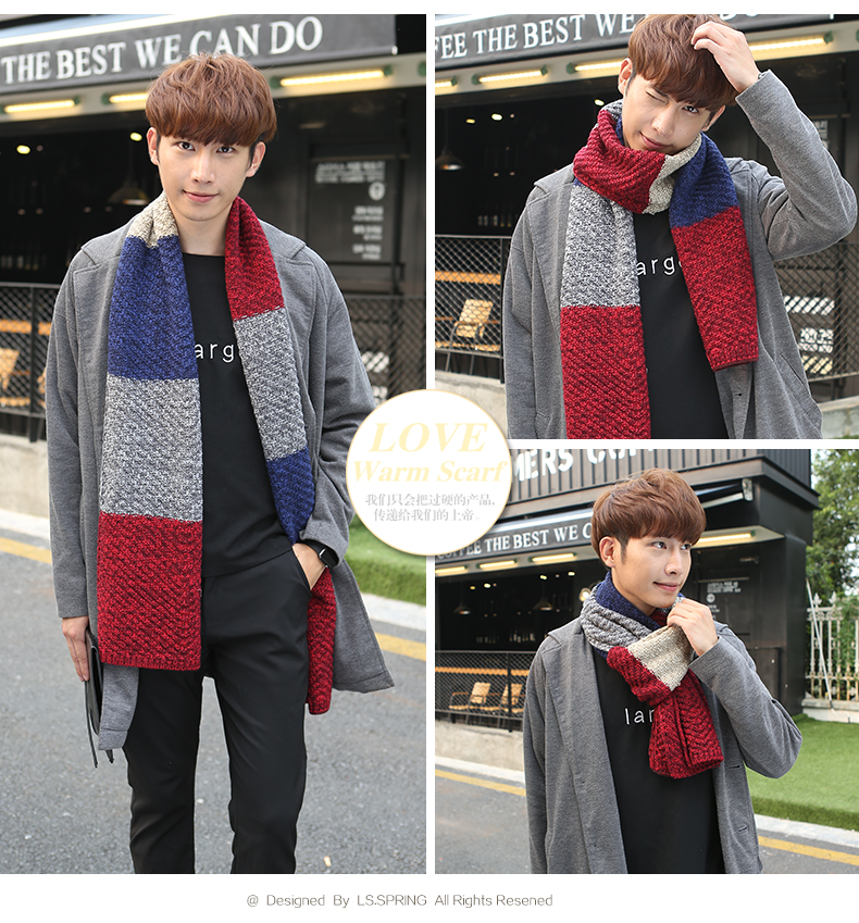 New Korean men's scarves in autumn and winter spell color long section of a couple of young students scarf wool scarves