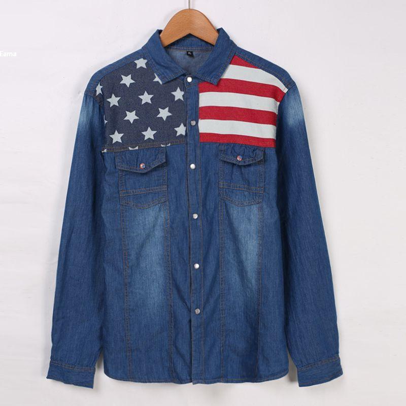 Free Ship Men's Shirts Long Sleeve Turn Down Collar Slimming Denim Shirt US Flage Pattern Patchwork Casual Mens Clothing(China (Mainland))