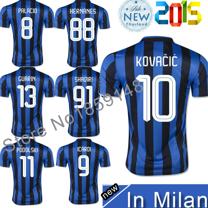 Best Thailand Quality 2015 2016 Italy Serie A blue black Home soccer Jersey KOVACIC ICARDI HERNANES PALACIO Football Shirt(China (Mainland))