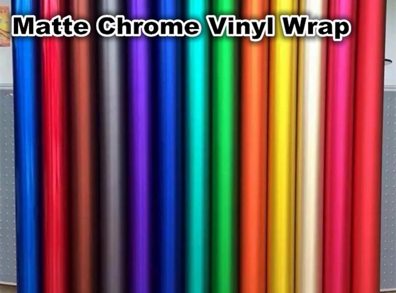 Luxury Matte Chrome Vinyl Film Metallic Car Vinyl Wrap Color Change Chrome Matt Sticker Car Vinyl Cover 5ft*66ft(China (Mainland))