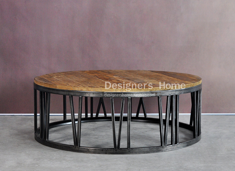 American country wrought iron wood furniture retro Roman numerals round coffee table coffee table coffee table ideas(China (Mainland))
