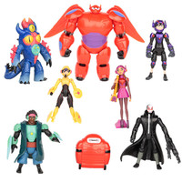 8pcs/set Big Hero 6 figures Fred Tomago Honey lemon Wasabi Cartoon Model Toys Assembly Toys Compatible Action Figure Super Hero