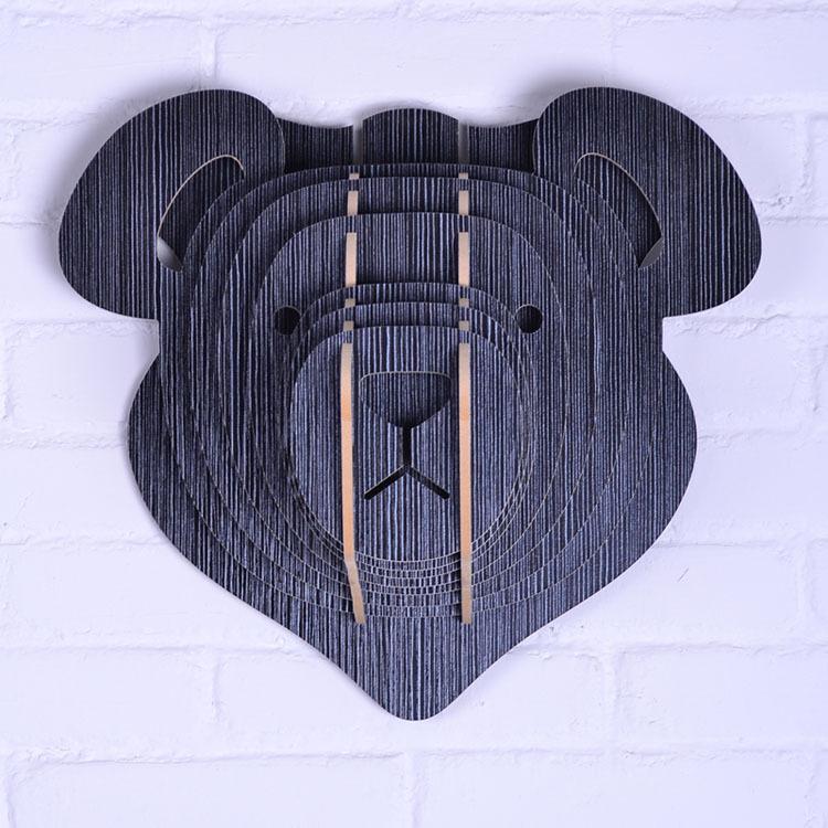 Teddy bear for children wooden animal head for wall decor for Animal head wall decoration