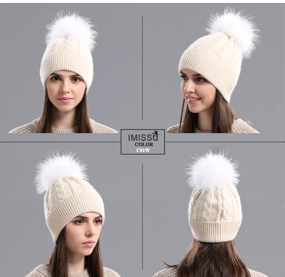 IMISSU Women Winter Hat Wool Knitted Beanies Cap Real Natural Raccoon Fur Pompom Hats for Girls Ski Gorros Cap Female Causal Hat