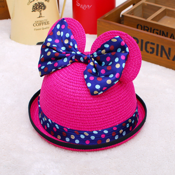 2015 Hot New Cats Ears Straw Caps Toddler Children Kids Girl Summer Flower Sun hat kids hats cheap beach cute hats (ppmm1)(China (Mainland))