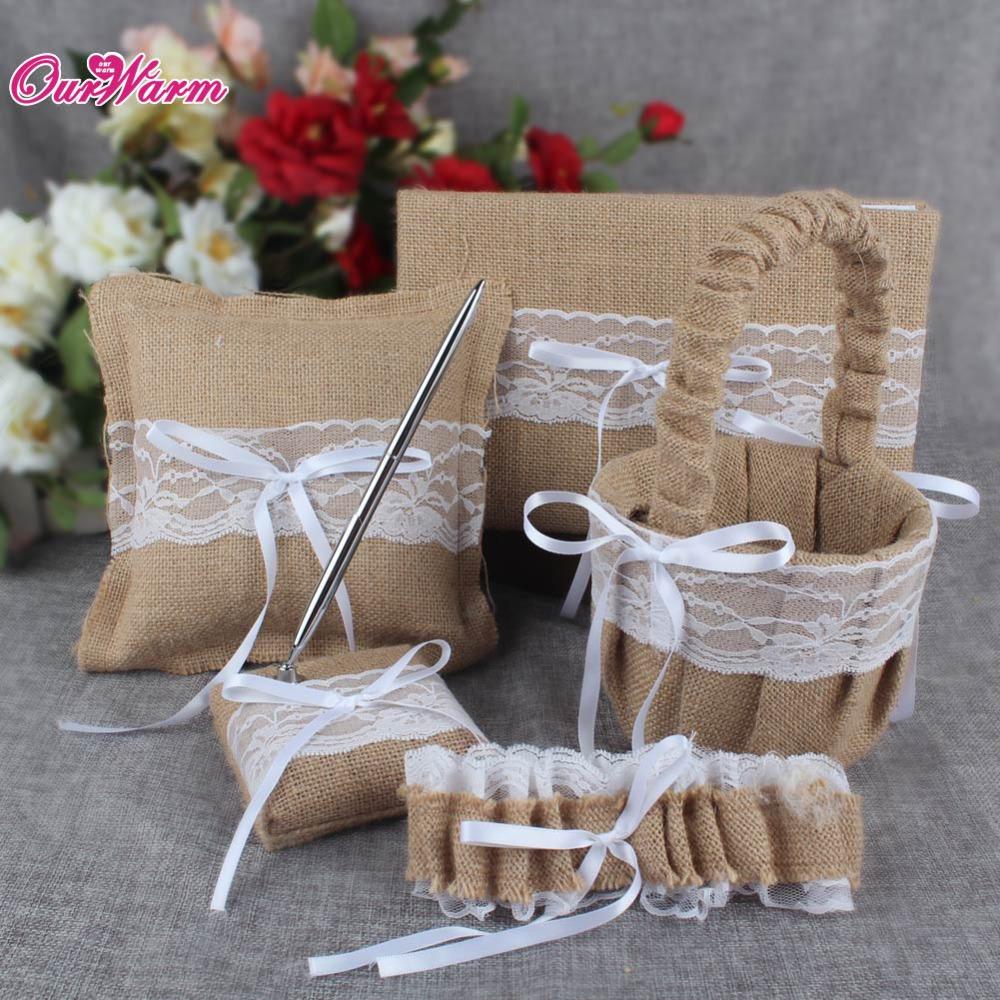 5Pcs/set Burlap Hessian Lace Wedding Guest Book Pen Set Ring Pillow Flower Basket Garter Decoration Bridal Product Supplies(China (Mainland))
