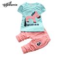 2016 Infant Clothing Summer Cartoon Horse Baby Girls Set T Shirt Capri Pants Kids Clothes Casual