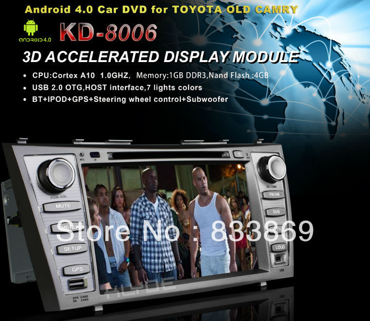 """Hot! HD 8 """"2 Din Android 4.0 Car PC For Toyota Camry With GPS Nav Stereo RDS Radio TV BT 3G 3D UI PIP Free WiFi Dongle Map(China (Mainland))"""
