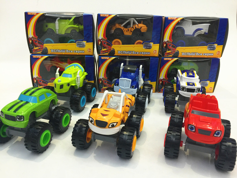Free shipping 6pcs/lot blaze and the monster machines toys transformation vehicle car kids toys for children's gifts(China (Mainland))
