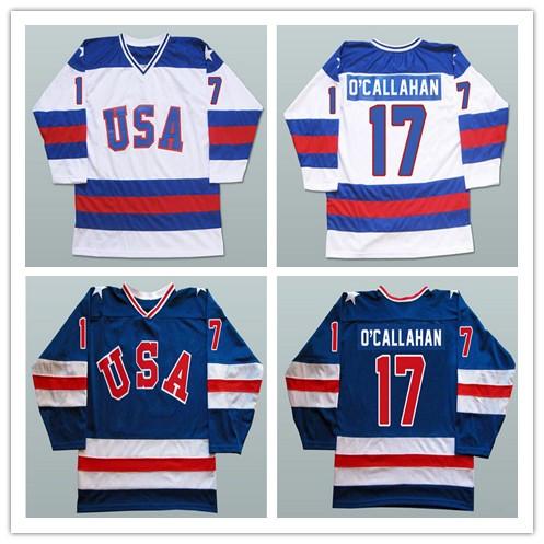 17 Jack O'callahan 1980 USA Hockey Jersey Olympic Stitched 1980 Miracle On Ice Hockey Jersey Navy/White S-3XL