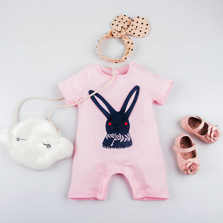 evil peace rabbit 100%Cotton short Sleeve Clothing Similar Jumpsuit Printed Baby Girl Bodysuits baby girl clothes(China (Mainland))