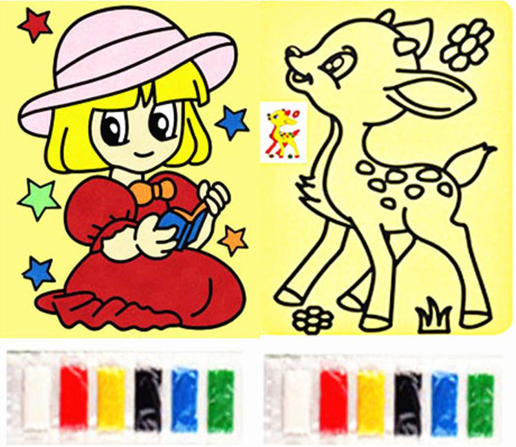 15*20cm Yellow Sand Painting Of Children Drawing Toys, 5pcs Random Patterns(China (Mainland))
