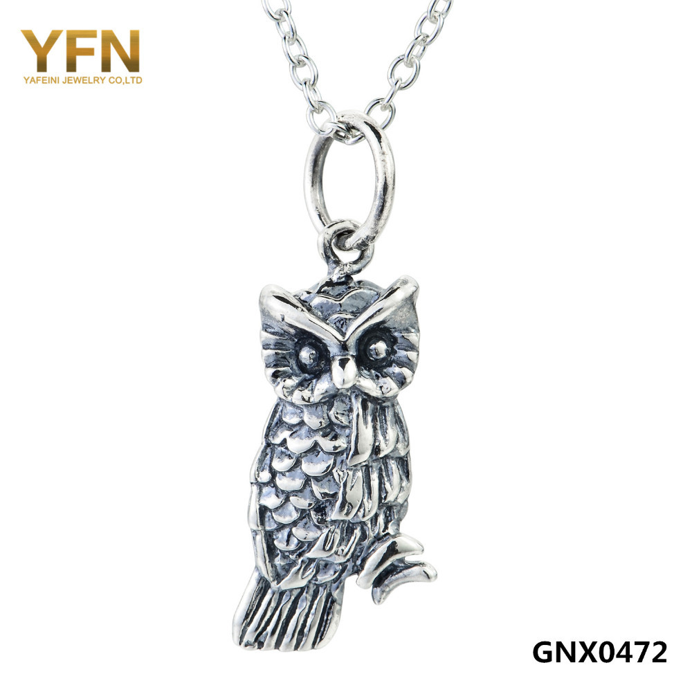 Vintage Jewelry 925 Sterling Silver Owl Pendant Necklace Animal Jewelry Collar Necklace For Women GNX0472(China (Mainland))