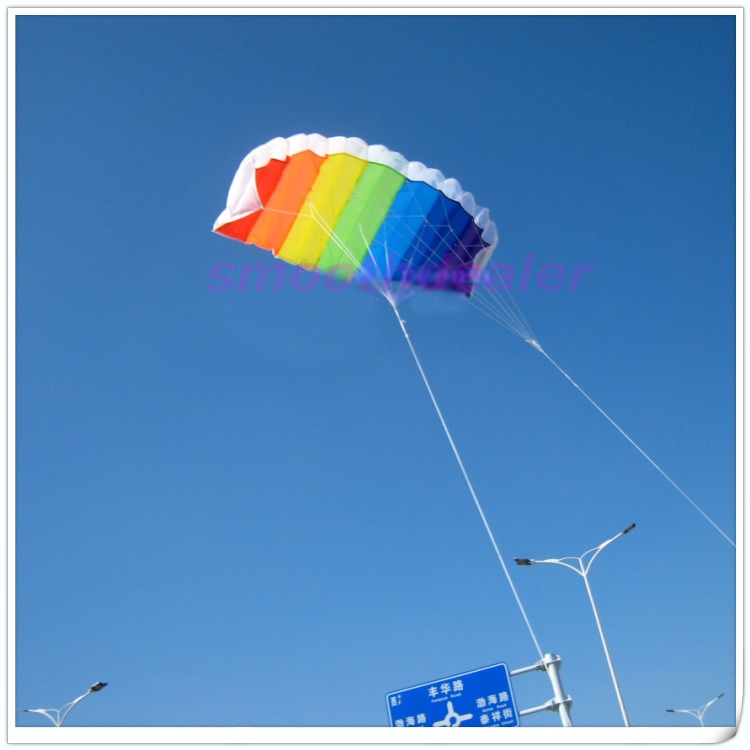 New 2M Power Dual Line Stunt Parafoil Parachute Rainbow Sports Kite For Beginner Free Shipping(China (Mainland))