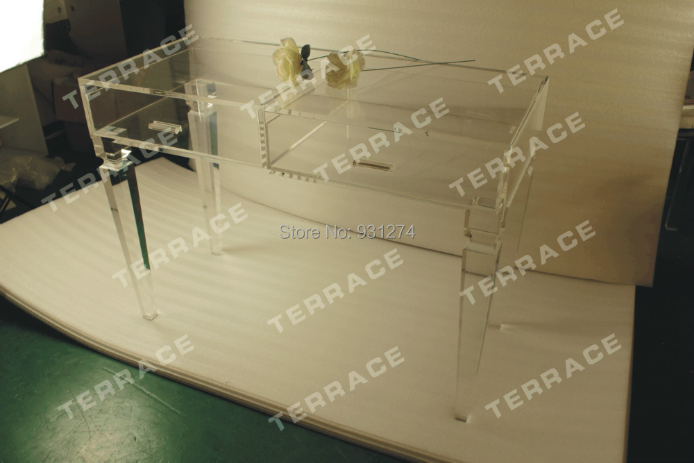 Free Shipping Acrylic Vanity Desk,Clear Lucite Drawer Table(China (Mainland))